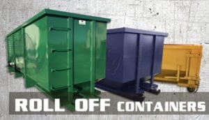 Green, blue and yellow roll off containers